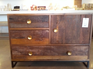 reclaimed wood, chest of drawers, brass hardware