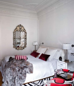 Ana-Ros-bedroom-traditional-modern-antique-mirror-white-bedding-zebra-fur