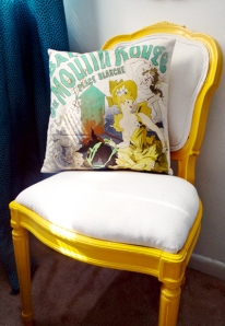 yellow-upholstered-side-chair-and-vintage-pillow
